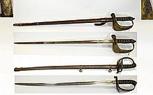 2 British Cavalry Officers Swords, One marked Fent