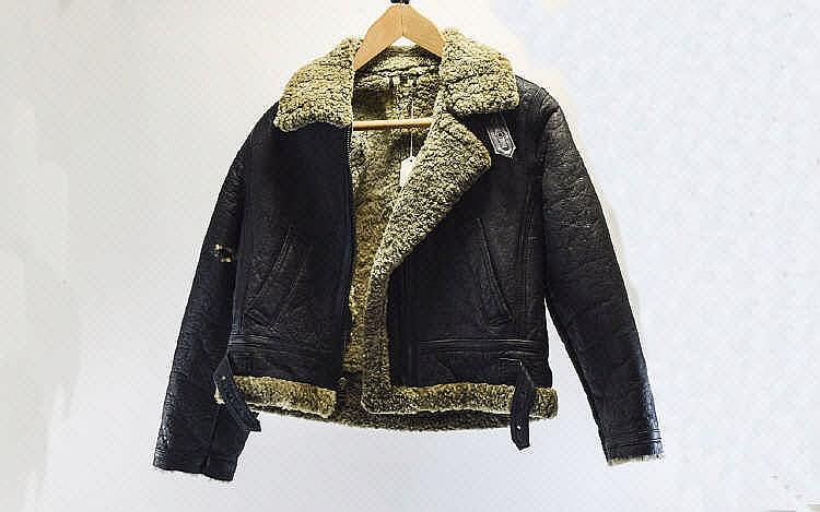 Lot 1526: Vintage Leather -Shearling Biker / Bomber Jacket