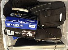 Box Containing A Collection Of Cameras To Include