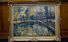 Large French Impressionist Oil on Canvas, signed L
