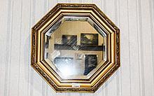 Regency Style Giltwood Octagonal Shaped Bevelled W