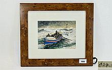 20th Century Signed Watercolour ' Lifeboat In Roug