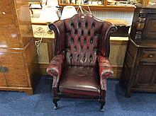 Leather Chesterfield Chair Brown leather chair wit