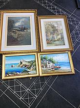 Collection  of Four Pictures comprising Framed Oil