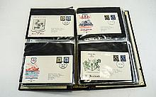 First day Cover FDC album containing 92 stamp cove