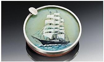 A Silver Banded Circular Ships Ashtray with