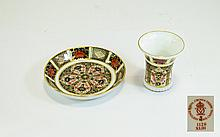 Royal Crown Derby Imari Patterned Miniature and Pin Dish. Pattern No 1128. Date 1990. Vase 2.5 Inches, Saucer 4.25 Inches Diameter. Excellent Condition In Both Pieces.