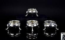 Victorian Period Nice Quality and Good Set of 4 Silver Salts. Each with Beaded Borders and Splayed Hoofed Feet, No Liners. Hallmark London 1863, Makers Mark A.M ( Alexander Macrae ) 174 grams. All Salts are In Very Good Condition.