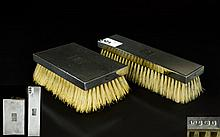 Art Deco Period Pair of Engine Turned Silver Gentleman's Hair Brushes, Pure
