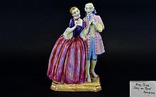 Atlas China Hand Painted Porcelain Figure - Titled ' Romance ' c.1930's. 10