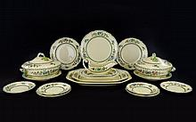 Spode Royal Jasmine Large Collection of Ceramic Serve Ware (54 ) in total. To include two, twin handled tureens, dinner plates, side plates, gravy boat and four graduated serving bowls etc. Cream ground with blue pink and green, yellow floral and