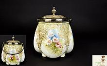 Doulton Burslem Late 19th Century Biscuit Barrel Ceramic footed barrel with plated lid and handle circa 1891 - 1902 Gourd shaped ceramic with hand painted floral decoration in pink, sky blue and pale green. Crazing throughout. 6 inches in height.