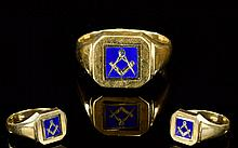 Masonic 9ct Gold and Enamel Two Sided Signet Ring. Fully Hallmarked - Pleas