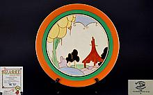 Clarice Cliff Collection Limited Edition Wall Plate ''Bizarre'' Summer House plaque limited edition of 500. Number 55 boxed and certificate. Approx 15 inch diameter.