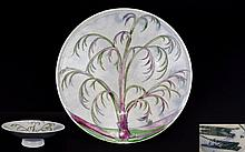 William Moorcroft Signed Tazza ' Weeping Willow ' Atmospheric Design. Date 1930's. Interesting Shape - Please See Photo. 8 Inches Diameter & 2.75 Inches High. Restoration to Base of Tree Area - Please See Photo.