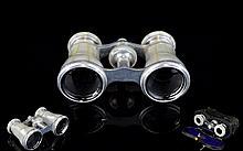 Antique Opera Glasses Housed in original case, silver tone binoculars with