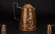 JS&S; Art Nouveau Willow Copper Tankard By Joseph Sankey & Sons, Bilston, England Small arts and crafts lidded tankard with embossed stylised organic pattern to body, marked to base, JS & S. lid missing pin, requires some restoration, height, 4.5