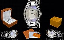 Ebel - Ladies Beluga - Diamond Set Stainless Steel / Silver Tone Wrist Watch, Quartz Movement, Features Mother of Pearl Dial ( White ) Diamond Set Bezel, Diamond Markers to Dial, Diamonds of Good Colour and Clarity, Hidden Folding Clasp, Complete