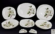 Midwinter Dogwood Pattern designed by Jessie Tait circa 1957. 14 assorted pieces.
