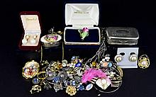 A Mixed Collection Of Costume Jewellery And Vintage Pillboxes Over twenty items to include crystal set frog brooch, several pairs of contemporary earrings, long faux turquoise pendant, oval pillbox with figurative scene to lid. Also boxed Coalport