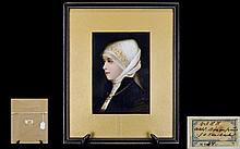 Hutschenreuther Superb Quality Hand Painted Porcelain Plaque. Profile Portrait of a Young Woman From The Late 19th Century. Wonderful Quality and Condition - Please See Photo for Back of Plaque. Plaque Size Only 7 x 5 Inches. Size with Frame 11 x 9