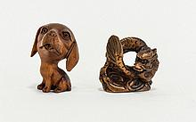 Contemporary Carved Netsuke Two in total, fashioned in dark wood  the first