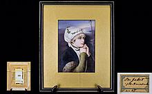 Hutschenreuther Superb Quality Hand Painted Porcelain Plaque - Profile Portrait of a Young Woman. c.Late 19th Century. The Quality Is of The Highest and Wonderful Condition - Please See Photo to Back of Plaque. Plaque Size Only 7 x 5 Inches & With