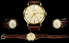 Omega - Gents 9ct Gold Cased Automatic Wrist Watch From The 1960's. Gold Markers, Leather Strap - Later, Good Looking Gents Wrist Watch, Dial and Case Good Condition, Good Working Order, Requires New Glass - Please See Photo.