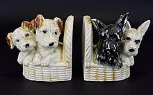 Two Antique Book Ends with Two breeds of Dogs on each side, small chip to ear.