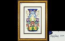Moorcroft Original Artwork Watercolour Painting By Phillip Gibson Depicts a large vase in the 'Hidcote manor' design. Dated 2004 and signed by the artist to lower right. Framed and mounted under non-reflective glass by the Moorcroft Art Studio. Size