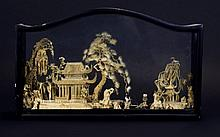 Chinese - Good Quality Hand Crafted Sculpture of a Chinese Village Made of Cork, Displayed In Black Wooden and Glass Display Case, Dates Early Part of 20th Century. Size 8.5 Inches High & 13.75 Inches Wide - Please See Photo.