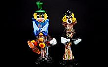 Murano Glass 1960's - Multi Coloured Clown Figures. Both Figures are In Excellent Undamaged Condition. Heights 10 & 9 Inches.