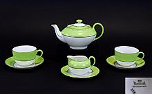 Victoria - Czechoslovakia Art Deco Period Tea for Two - Hand Painted Porcelain Tea Service ( 7 ) Pieces In Total. Comprises 1 Teapot, 2 Cups and Saucers, 1 Saucer & 1 Milk Jug. All In Wonderful Condition.