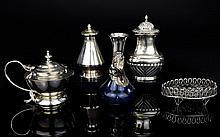 A Small Collection of Early to Mid 20th Century Silver and Silver Plated Items ( 5 ) Five In Total. Comprises Silver Pepperette, Hallmarked Silver Plated Pepperette and Mustard Pot, Hallmarked Silver Posy Vase, Hallmarked Silver Reticulated Stand.