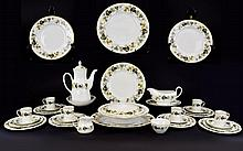 Royal Doulton 'Larchmont' Design Part Dinner Set, pattern number  TC1019. Comprising coffee pot, two tureens, gravy boat and stand, 5 cups, saucers, and side plates, 6 dinner plates, oval platter etc 44 pieces in total.