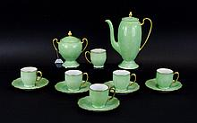 Lime Green Part Coffee Set comprising coffee pot, 5 cups and saucers and  two handled sugar bowl.