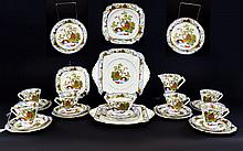 Standard China Oriental Style Teaset, vibrant colourful decoration on white ground, depicting Japanese garden scenes. Comprises 11 cups, saucers and side plates, 1 additional saucer and side plate, milk jug, sugar bowl and two sandwich/cake plates.