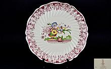Royal Doulton Huge Decorative Polychrome Shallow Dish / Wall Plaque. c.1910 ' Pomeroy ' Pattern / Design. D5270. From The Original Davenport Engravings 1793. Diameter 15 x 15 Inches. In Good Condition.