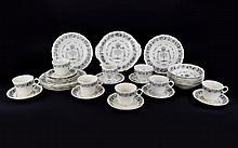 Grindley Royal Cauldron Passover Ware. 33 pieces. Black Litho on white pott