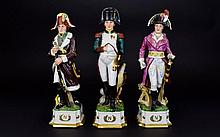 A Trio of Mid 20th Century Hand Painted Porcelain Figures of Napoleon. Each