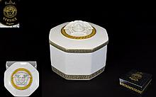 Rosenthal Versace Collection Georgona Trinket Box Meandre D'Or .Original box and as new condition. 9 cms in diamter.