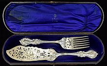 Elkington & Co Pair of Large Silver Plated Servers. Boxed. Server 13 Inches In length.