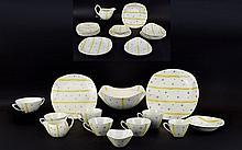 Midwinter Stylecraft Fashion Tableware (35) assorted pieces. Hollywood design Elestree pattern, turquoise stars design by Jessie Tait, circa 1955.