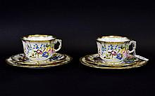 Hammersley Two Breakfast Cups and Saucers and two 8 inch plates. Queen Ann Pattern with heavy fancy gold pattern.