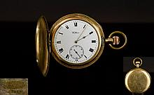 American Watch Co Waltham Gold Plated Keyless Full Hunter Pocket Watch. c.1890 - 1900. Features White Porcelain Dial, Black Numerals, Secondary Dial & Gold Hands. Working Order.
