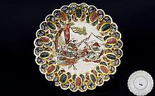 Japanese 19th Century Satsuma - Very Fine Small Circular Dish, Decorated In Painted Enamels, Depicting Japanese Warriors, Seated Below a Gold Splashed Tall Tree with Mountains In The Distance. 6.25 Inches Diameter.