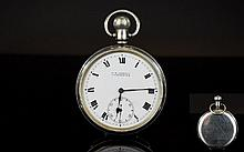 Antique Period Nice Quality Open Faced Silver Keyless Pocket Watch, Features a White Porcelain Dial, Black Numerals, Secondary Dial & Working Order. Excellent Condition In All Aspects.