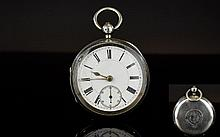 Victorian Period - Heavy Silver Key Wind Open Faced Pocket Watch, Features