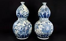 Large Pair Of Oriental Double Gourd Shaped Vases, Pair Of Floor Standing Blue And White Vases, Floral & Stylized Dragon Decoration, Height 24 Inches