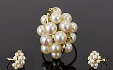 A Fine Quality 14ct Gold and Mikimoto Pearl Cluster Cocktail Ring. Marked 14ct. As New Condition. Provenance - The Client States that this was Bought In the 1970's from the Mikimoto store In Tokyo and Is Sold as Genuine Mikimoto.